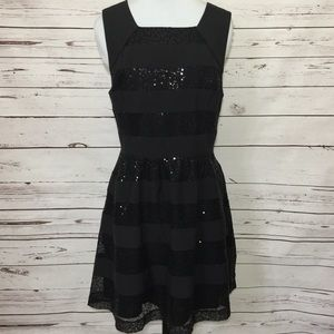 Cynthia Rowley Black Sequin Fit To Flare Dress